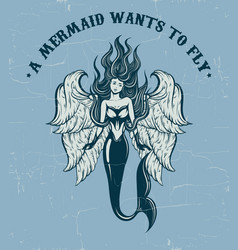 quote typographical background a mermaid wants vector image