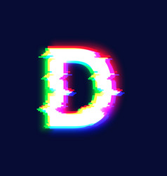 realistic glitch font character d vector image