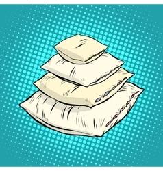 Realistic white pillows retro vector