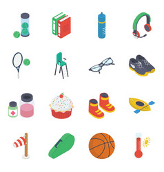 Recreational activities isometric icons pack vector