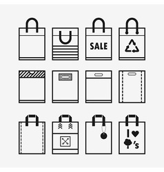 Recycle and hopping bags icons set vector