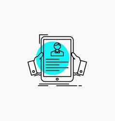 Resume employee hiring hr profile line icon vector