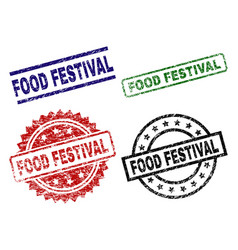 scratched textured food festival stamp seals vector image