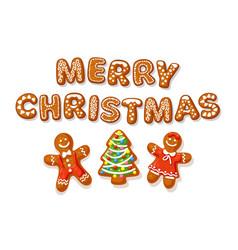 set christmas gingerbread cookies merry vector image