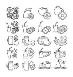 set of black and white fruit juice ic vector image
