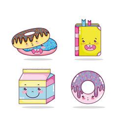 set of kawaii cartoons vector image