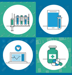 set of medical elements vector image
