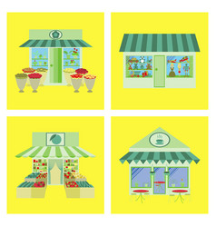 shops and stores icons set in flat design vector image