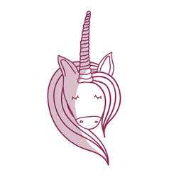 Silhoue beautiful head unicorn with long mane vector