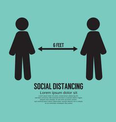 Social distancing 6 feet icon black symbol vector