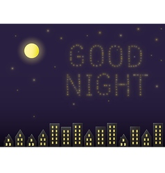 Stars arranged to the word good night vector