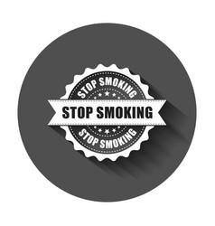 stop smoking grunge rubber stamp with long shadow vector image
