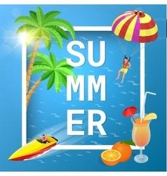 Summer concept of sandy beach idyllic travel vector