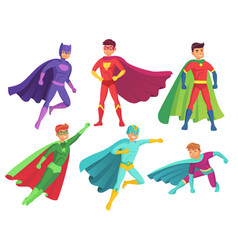 Superhero man characters cartoon muscular hero vector