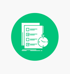 Todo task list check time white glyph icon in vector