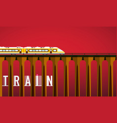 train on bridge - design vector image