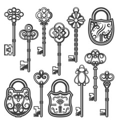 vintage ornamental keys and locks collection vector image