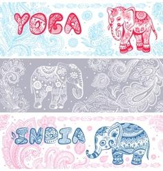 vintage set banners with ethnic elephants vector image
