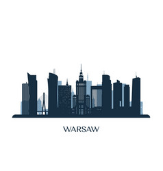 warsaw skyline monochrome silhouette vector image