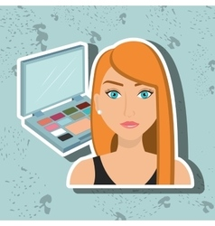 woman make up cosmetic vector image