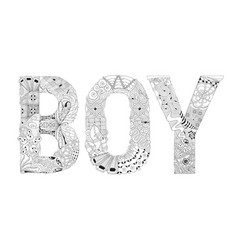 word boy for coloring decorative zentangle vector image vector image