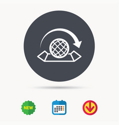 World map icon globe with arrow sign vector