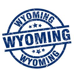 Wyoming blue round grunge stamp vector