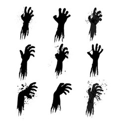 Zombie grunge hands silhouettes vector