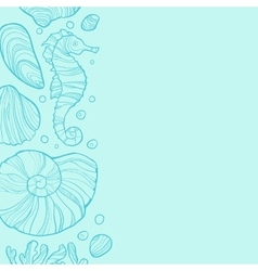 Background with seashells rocks seahorse and vector image vector image