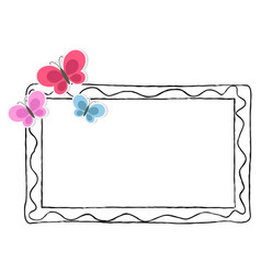 black and white photo frame with color butterflies vector image vector image
