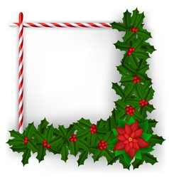 Christmas frame with holly branch and candy vector image