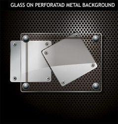glass on metal background vector image vector image
