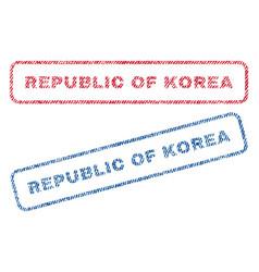 republic of korea textile stamps vector image vector image