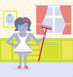 Robot housewife vector