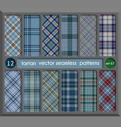 set in blue tartan seamless pattern background vector image