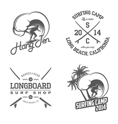 Set of vintage surfing labels and badges vector