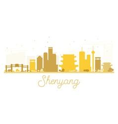 Shenyang City skyline golden silhouette vector image