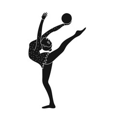 skinny girl with ball in hand dancing sports dance vector image