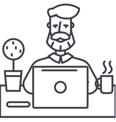 beard man working on table with notebook vector image