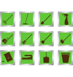 cleaning icons on square buttons vector image