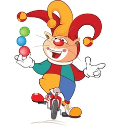 Cute Cat Clown Juggler Cartoon vector image vector image