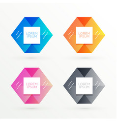 hexagonal banners set with text space vector image