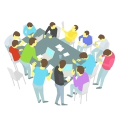 Round-table talks Thirteen persons set Group of vector image vector image