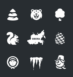 set of siberia icons vector image vector image