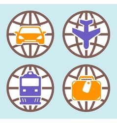 travel isolated icons set vector image vector image