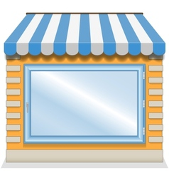 Cute shop icon with blue awnings vector image