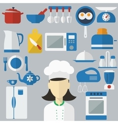 Flat design concept icons of kitchen utensils with vector image vector image