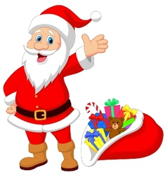 Happy Santa Clause cartoon with gift vector image