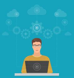 man big data software engineer programmer with vector image