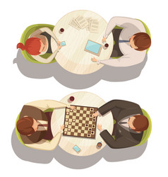 people over cup of coffee at round tables vector image